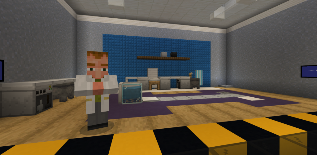 A scientist stands in a lab in Minecraft: Education Edition