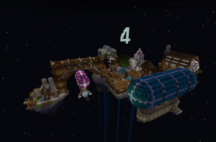 An island featuring a Victorian-era settlement floats in space in Minecraft: Education Edition