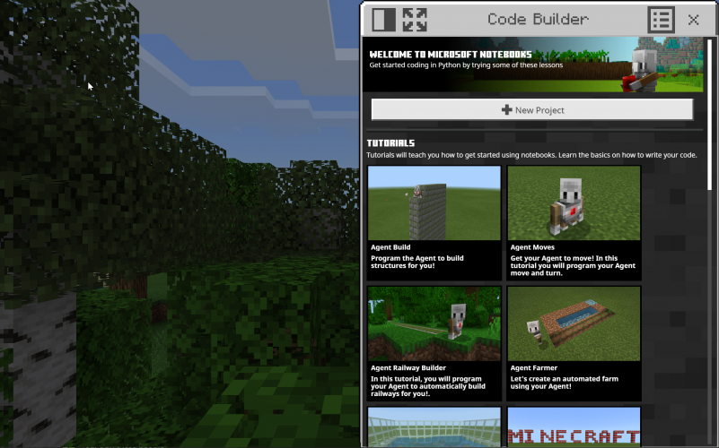 The library screen in Minecraft: Education Edition featuring tutorials for Microsoft Notebooks